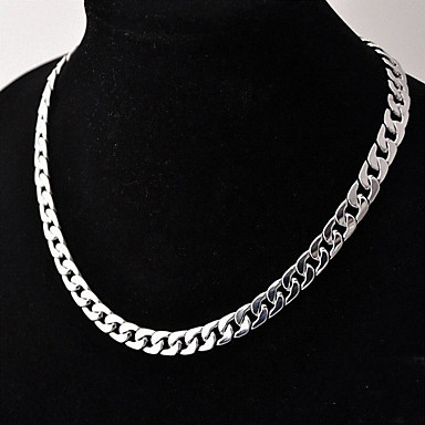 cheap Top Sellers-Men's Chain Necklace Cuban Link Twisted Box Chain Simple Basic Fashion Copper Silver Plated Silver 50 cm Necklace Jewelry 1pc For Daily Street