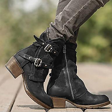 levne Shoes Trends-Dámské Boty Komfortní boty Nízký podpatek Oblá špička PU Kotníčkové Zima Černá / Tmavěhnědá