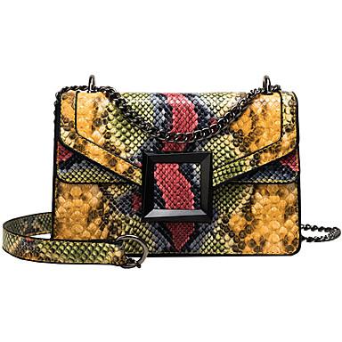 levne Shoes Trends-Dámské PU Taška crossbody Hadí kůže Černá / Světlá růžová / Žlutá