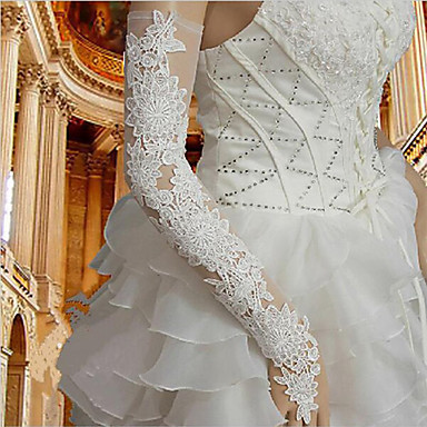 cheap Party Gloves-Nylon Opera Length Glove Lace / Gloves With Trim