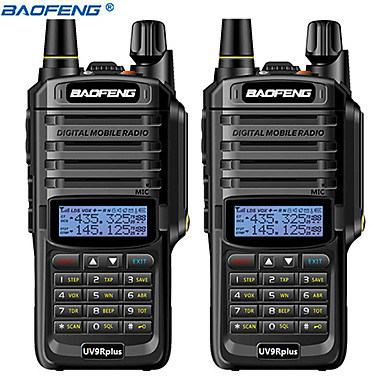 cheap Walkie Talkies-2pcs baofeng UV-9R plus 10KM 4800 mAh 10 W waterproof walkie talkie High power  two way radio VHF UHF portable radio walkie talkie uv9R plus