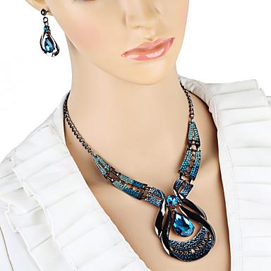 baratos Conjunto de Bijuteria-Mulheres Brincos Compridos Gargantilhas Colares com Pendentes 3D Original Vintage Brincos Jóias Azul Para Feriado 1conjunto