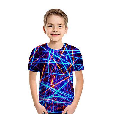 cheap Baby & Kids-Kids Boys' Active Streetwear Geometric 3D Patchwork Print Short Sleeve Tee Rainbow