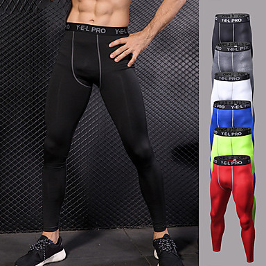 cheap Exercise, Fitness & Yoga-YUERLIAN Men's High Waist Running Tights Leggings Compression Pants Cropped Leggings Thermal / Warm Breathable Moisture Wicking White Black Red Gym Workout Running Fitness Sports Activewear High