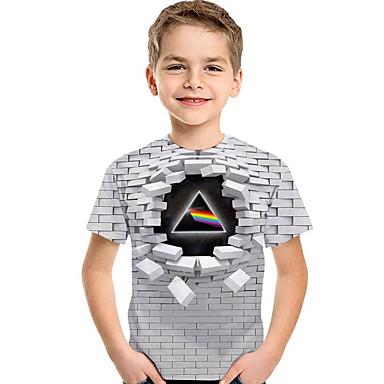 رخيصةأون شاهد أفضل البائعين لدينا-كنزة مطبوعة كم قصير طباعة هندسي / 3D رياضي Active / أساسي للصبيان أطفال / طفل صغير