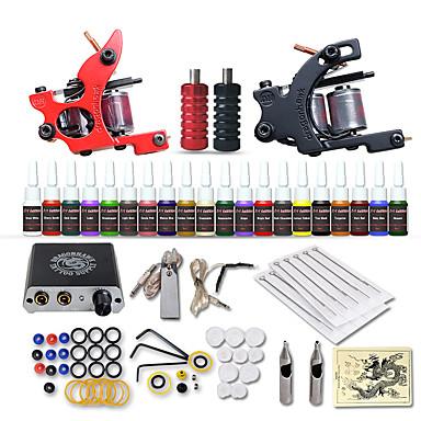 Tattoo Machine Startkit - 2 pcs Tatueringsmaskiner med 20 x 5 ml tatueringsfärger, Säkerhet, Professionell, Enkel att sätta på Mini strömförsörjning No case 2 x legering tatuering maskin för lining