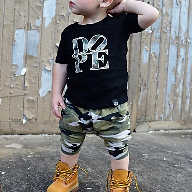 cheap Boys' Clothing Sets-Toddler Boys' Basic Print Short Sleeve Clothing Set Black