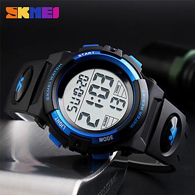 cheap Women's Digital Watches-Men's Sport Watch Wrist Watch Digital Watch Japanese Digital Quilted PU Leather Black 50 m Water Resistant / Waterproof Alarm Calendar / date / day Digital Fashion - Red Gold Blue / Chronograph