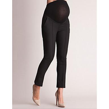 저렴한 임부복-여성용 베이직 치노바지 바지 - 솔리드 블랙, 패치 워크 블랙 화이트 네이비 블루 S M L