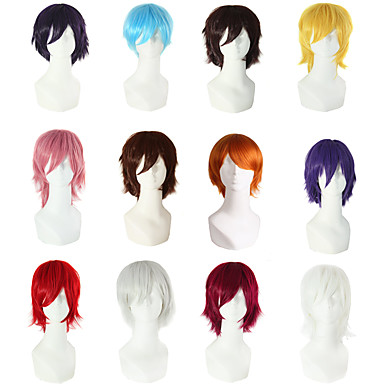 cheap Wigs & Hair Pieces-Synthetic Wig kinky Straight Asymmetrical Wig Short Grey Pink Sliver White Purple Dark Brown#2 Synthetic Hair 11 inch Women's Fluffy Red Dark Brown