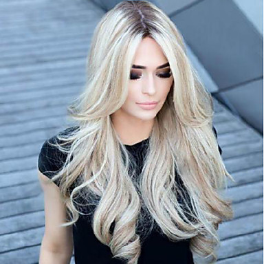 cheap Synthetic Wigs-Synthetic Wig Body Wave Asymmetrical Wig Blonde Long Blonde Synthetic Hair 27 inch Women's Best Quality Middle Part Blonde