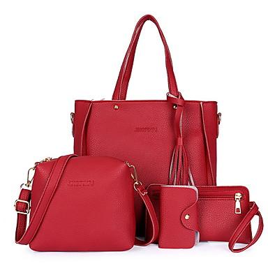cheap Summer 2020-Women's Zipper Cowhide Bag Set Bag Sets Solid Color 4 Pieces Purse Set Black / Red / Gray