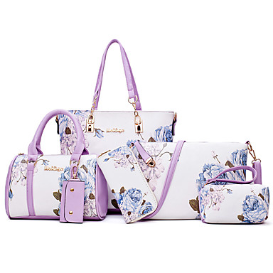 cheap Bag Sets-Women's Bags PU Leather Bag Set 6 Pieces Purse Set Floral Print for Daily / Office & Career Wine / White / Black / Purple / Bag Sets / Fall & Winter