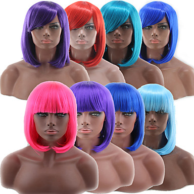 cheap Synthetic Trendy Wigs-Synthetic Wig kinky Straight Bob Neat Bang Wig Pink Short Watermelon Red Blonde Pink Blue Green Synthetic Hair 10 inch Women's Blue Pink