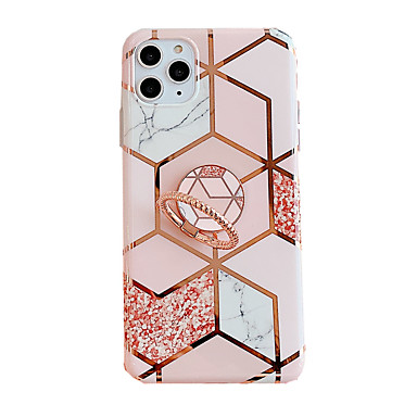 cheap iPhone Cases-Case for Apple scene map iPhone 11 11 Pro 11 Pro Max X XS XR XS Max 8 Colorful diamond-shaped marble flower pattern plating TPU material IMD process ring bracket all-inclusive mobile phone case