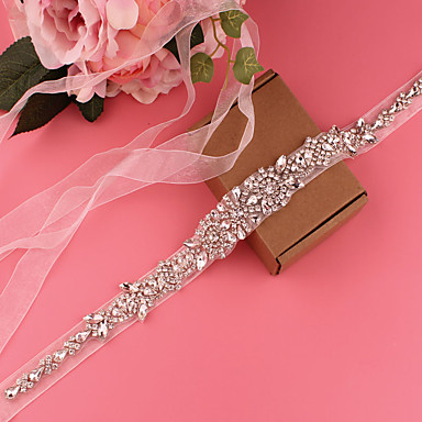 cheap Party Sashes-Satin Wedding / Party / Evening Sash With Belt / Appliques / Crystals / Rhinestones Women's Sashes