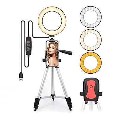 cheap Camera & Photo-16cm Led Light Ring For Selfie Lamp Ring Light Tripod With Lamp Photography Lighting For Youtube Holder Camera Phone Clip Studio