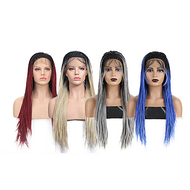 cheap Synthetic Lace Wigs-Synthetic Lace Front Wig Box Braids with Baby Hair Lace Front Wig Ombre Long Ombre Blonde Ombre Grey Black / Red Black / Blue Synthetic Hair 18-24 inch Women's Braided Wig African Braids African