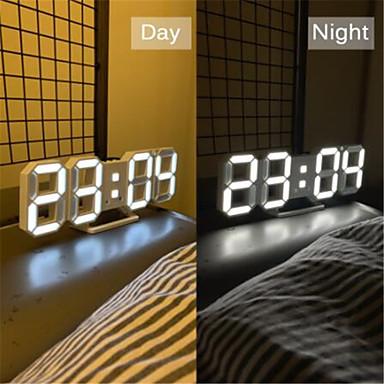 cheap Smart alarm clock-3D LED Wall Clock Modern Design Digital Table Clock Alarm Nightlight Watch For Home Living Room Decoration