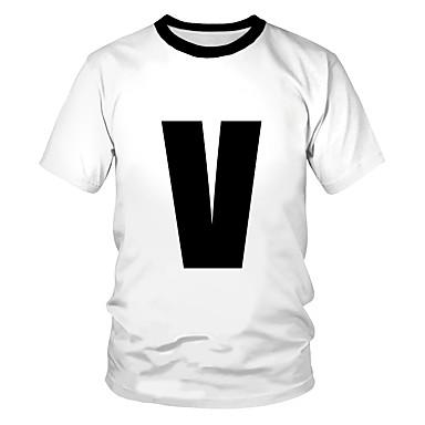 billige BarnekolleksjonUnder $8.99-Børn Drenge Pige Aktiv Gade Sort og hvid 3D Patchwork Trykt mønster Kortærmet T-shirt Hvid