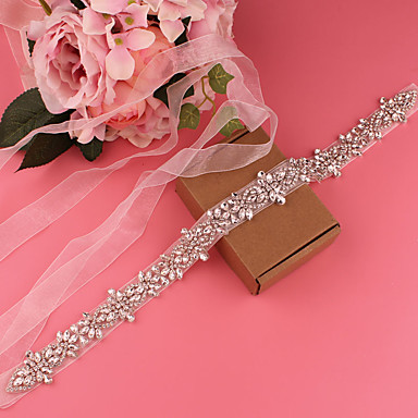 cheap Party Sashes-Satin Wedding / Party / Evening Sash With Belt / Crystals / Rhinestones Women's Sashes