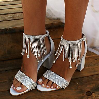 cheap Wedding Shoes-Women's Wedding Shoes Boho / Beach Chunky Heel Open Toe Rhinestone / Tassel Satin Sweet / Minimalism Walking Shoes Summer / Spring & Summer White / Party & Evening