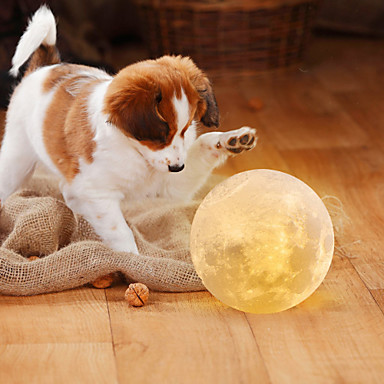 cheap Décor & Night Lights-Moon Lamp LED Night Light 3D Globe Brightness Batteries Powered Home Decorative for Baby kid New year Christmas gift wooden stand 12cm 4.7inch