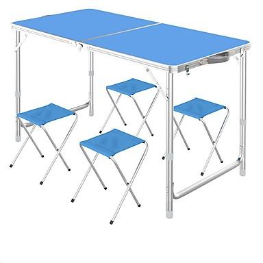 Camping Πτυσσόμενο τραπέζι με σκαμπό Φορητό Πτυσσόμενο Αναδιπλούμενο Κράμα αλουμινίου 4 Σκαμπό 1 Πίνακας για 3-4 άτομα Κατασκήνωση Φθινόπωρο Άνοιξη Σκούρο μπλε