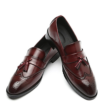 cheap Men's Slip-ons & Loafers-Men's Leather Shoes Leather Spring & Summer / Fall & Winter Business / Casual Loafers & Slip-Ons Breathable Black / Yellow / Red / Tassel