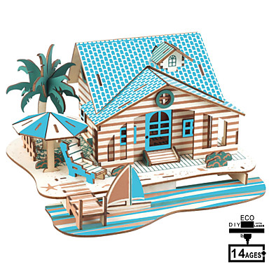 cheap Wooden Puzzles-Model Building Kit Wooden Model DIY House Plastics Wooden Classic Kid's Unisex Toy Gift