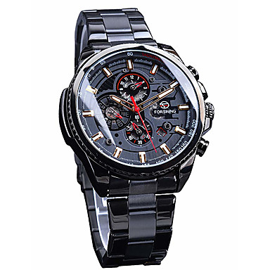 cheap Mechanical Watches-Men's Dress Watch Automatic self-winding Three-eye Six-needle Black / Silver / Gold Waterproof Large Dial Analog Minimalist - White and Blue Golden White / Silver