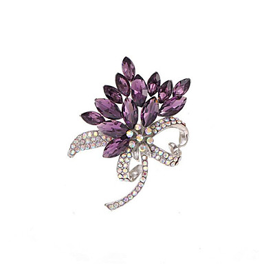 cheap Brooches-Women's Cubic Zirconia Brooches Geometrical Flower Stylish Brooch Jewelry Purple Blue For Christmas Daily