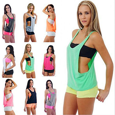 cheap Exercise, Fitness & Yoga-Women's Yoga Built In Bra Tank Fashion Black White Sky Blue Pink Fuchsia Cotton Running Fitness Gym Workout Vest / Gilet Sleeveless Sport Activewear Lightweight Quick Dry Comfortable Stretchy Loose
