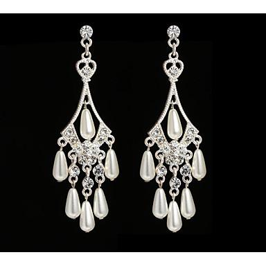 cheap Earrings-Women's Pearl Drop Earrings Geometrical Love Statement Imitation Pearl Earrings Jewelry White For Wedding Party 1 Pair