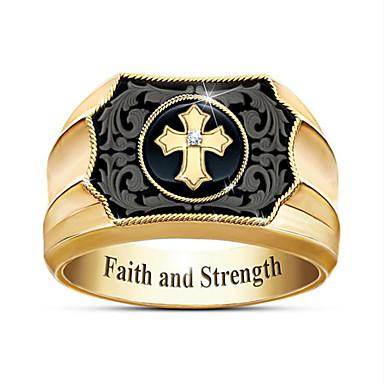 povoljno Muško prstenje-Muškarci Prsten 1pc Zlato Pozlaćeni Geometric Shape Moda Dnevno Praznik Jewelry Geometrijski Kereszt Cool