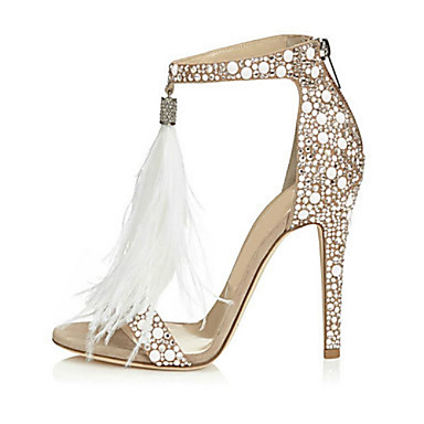 cheap Women's Sandals-Women's Sandals / Wedding Shoes Furry Feather Summer Stiletto Heel Open Toe Sweet Wedding Party & Evening Rhinestone / Feather / Tassel Solid Colored Suede White / EU41