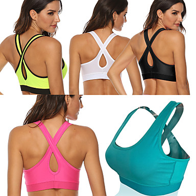 cheap Sports Underwear & Socks-Women's Sports Bra Medium Support Removable Pad Wireless Fashion White Black Light Green Fuchsia Green Fitness Gym Workout Running Bra Top Sport Activewear Breathable High Impact Moisture Wicking