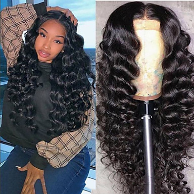 cheap Synthetic Trendy Wigs-Synthetic Wig Jerry Curl Asymmetrical Wig Long Natural Black Synthetic Hair 23 inch Women's Best Quality curling Black