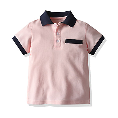 cheap Baby Boys' Tops-Baby Boys' Basic / Street chic Solid Colored Short Sleeve Blouse Blushing Pink