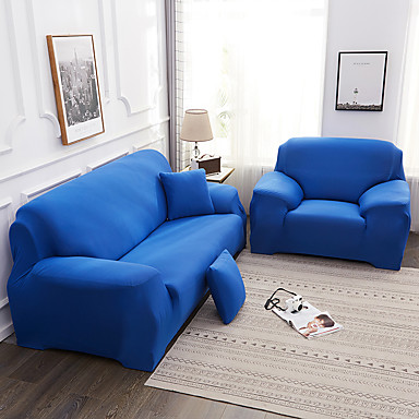 cheap Slipcovers-Simple Style Plain Color Elastic Fabric Sofa Cover Single Three Person Combination Sofa Cover Can Stretch Multi-color ptions