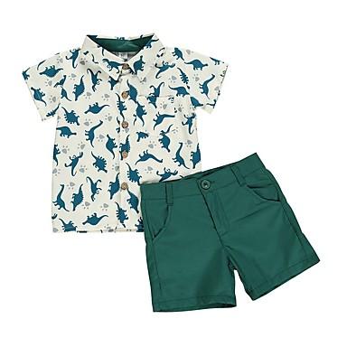 billige Babytøj Drenge Drenge-Baby Drenge Basale Trykt mønster Kortærmet Normal Tøjsæt Grøn
