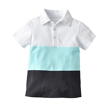 cheap Baby Boys' Tops-Baby Boys' Basic / Street chic Color Block Short Sleeve Blouse Blue