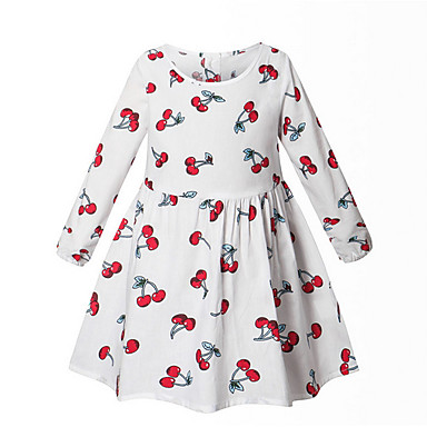 preiswerte Baby & Kinder-Kinder Mädchen Geometrisch Kleid Weiß
