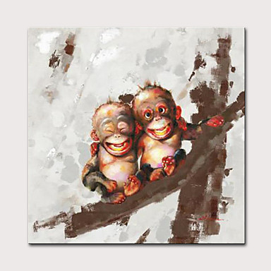 cheap Oil Paintings-Oil Painting Hand Painted Animals Pop Art Modern Rolled Canvas Rolled Without Frame
