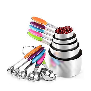 cheap Measuring Tools-10Pcs Stainless Steel Measuring Spoons Cups Scoop Food Grade Measuring Spoon Set Silicone Handle Kitchen Measuring Tool