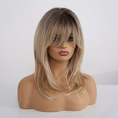 cheap Synthetic Trendy Wigs-Synthetic Wig Matte kinky Straight Lily With Bangs Wig Blonde Long Light Blonde Synthetic Hair 20 inch Women's Fashionable Design Color Gradient Comfortable Blonde EMMOR