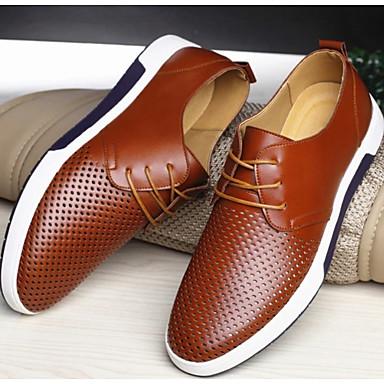 abordables Oxfords Homme-Homme Chaussures de confort Cuir Automne hiver Oxfords Marron