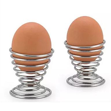 cheap Egg Tools-2pcs Kitchen Breakfast Hard Boiled Metal Egg Cup Spiral Spring Holder Egg Cup