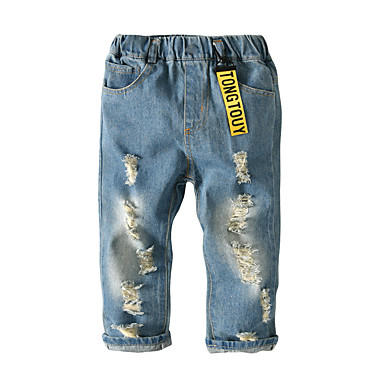 cheap Baby & Kids-Kids Toddler Boys' Basic Street chic Solid Colored Hole Jeans Blue