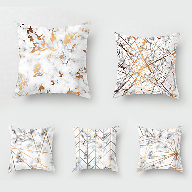 cheap Decorative Pillows-Set of 5 Throw Pillow Simple Classic 45*45 cm Nordic marbled Car Waist Pillow Sofa pillow case